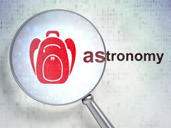Education concept: Backpack and Astronomy with optical glass - stock illustration