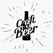 Craft beer black label - stock illustration