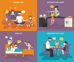 Family with children concept flat icons set - stock illustration