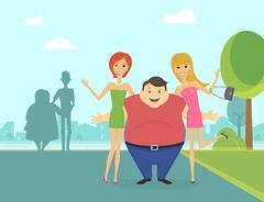 Fat man with his thin girlfriends in the park - stock illustration