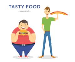 Happy fat and thin men eating a big food - stock illustration
