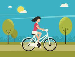 Young woman rides white bicycle - stock illustration