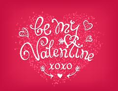 Be my Valentine handwritten decorative text. Hand crafted design - stock illustration