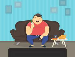 Fat man sitting at home on the sofa watching tv and drinking beer Stock Illustration