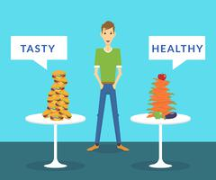 Stock Illustration of Thin man standing between tasty burgers and healthy carrots choosing what better