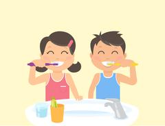 Happy kids brushing teeth standing in the bathroom near sink Stock Illustration