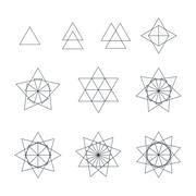triangle contour various sacred geometry set. - stock illustration