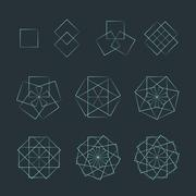 Stock Illustration of quadrangle contour various sacred geometry set.