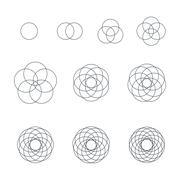 round contour various sacred geometry set. - stock illustration
