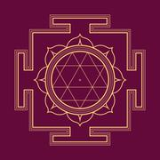 monocrome outline Durga yantra illustration. - stock illustration