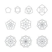 pentagon contour various sacred geometry set. - stock illustration