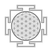 monochrome outline flower of life yantra illustration. - stock illustration
