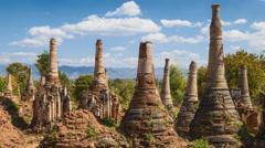 4K Timelapse of Shwe Indein pagoda, Shan state, Myanmar Stock Footage