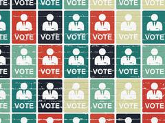 Stock Illustration of Politics concept: Ballot icons on wall background