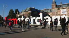 Time Lapse -  Amsterdam Sign & People - Rijksmuseum - stock footage