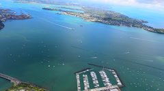 Aerial view of Waitemata Habour in Auckland New Zealand Stock Footage