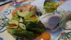 Chinese Cuisine King Pawns Vegetables Chicken Leg with Ginger Sauce Stock Footage