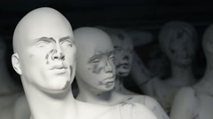 Spooky face of white male mannequin, close up - stock footage