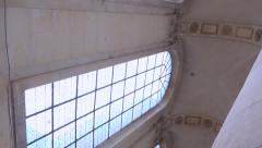 Impressive church with huge columns - low angle, two ways panoramic shot Stock Footage