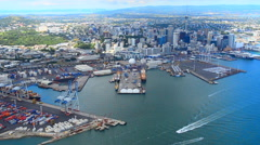 Aerial view of  Auckland financial center New Zealand Stock Footage