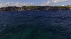 Aerial Mexico Crystal Clear Ocean Fly Over 007 towards Island - stock footage