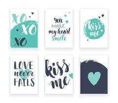 Stock Illustration of Heart shape cards set