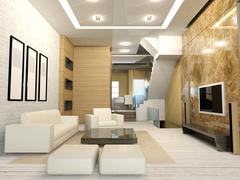 Apartment living room interior - stock illustration