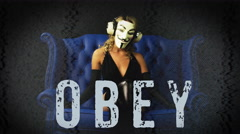Vendetta anonymous mask activist sexy obey costume hacker party Stock Footage
