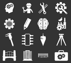 Engineering icons set Stock Illustration