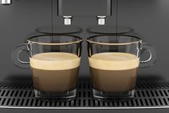 two cups with coffee standing on black coffee machine - stock illustration