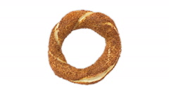 Seamless loop of traditional Turkish food called as Simit in Turkey Stock Footage