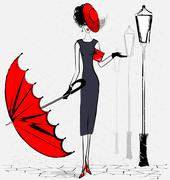 Lady with umbrella Stock Illustration