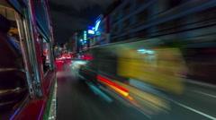 Bangkok night light tuk tuk road trip street view 4k time lapse thailand Stock Footage