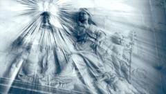 Wall frieze in a church, old stone, faith - panoramic, light effect Stock Footage