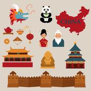 Travel to China vector icons illustration Stock Illustration
