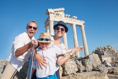 Happy family selfie photo on summer vacation Stock Photos
