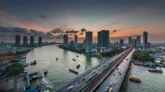 sunset till night bangkok river traffic bridge roof view 4k time lapse thailand - stock footage