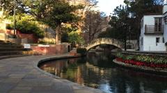 Stock Video Footage of 4K UltraHD Pan of the Riverwalk in San Antonio