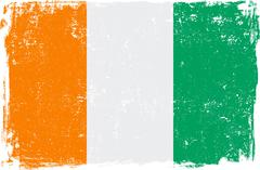 Ivory Coast Vector Flag on White - stock illustration