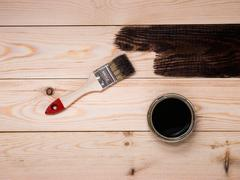 Staining wood stain Stock Photos