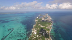 Aerial Mexico Island Airplane POV 02 Tilt Down Stock Footage