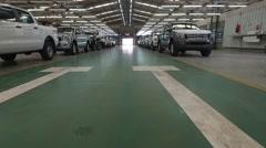 Aerial scene inside an import export car deposit. Stock Footage