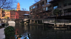 4K UltraHD Canal boat at the Riverwalk in San Antonio, Texas - stock footage