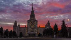 Moscow State University on the sunset. Timelapse Stock Footage