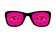 Pink glasses with red eyes inside isolated on white - stock illustration