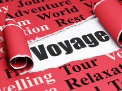 Stock Illustration of Travel concept: black text Voyage under the piece of  torn paper