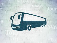 Travel concept: Bus on Digital Paper background Stock Illustration