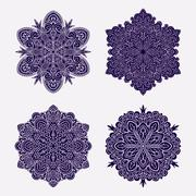 Set of abstract vector black round lace designs - mandalas, ethnic decorative Stock Illustration