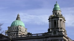 Belfast City Hall roofline against blue sky copper dome baroque Stock Footage