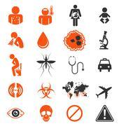 Icon set of Zika virus Infection Stock Illustration